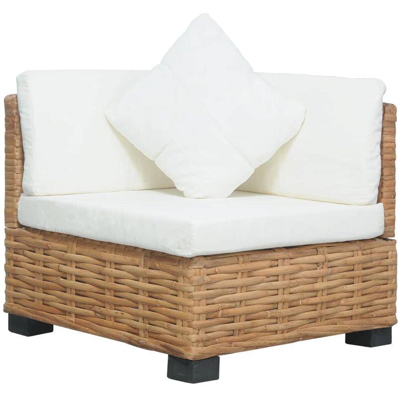 Youthup - Canapé d'angle avec coussins Rotin naturel