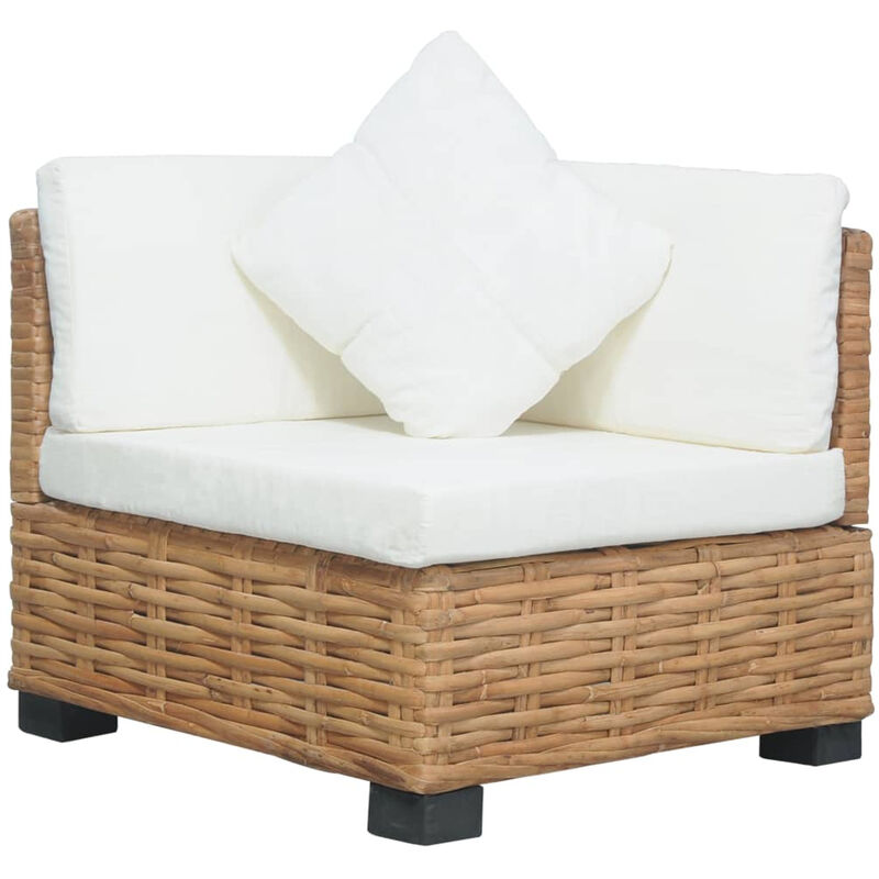 Canape d'angle avec coussins Rotin naturel