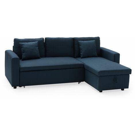 Canapé d'angle convertible CLARK 3 places bleu - Bleu