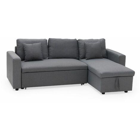 Canapé d'angle convertible CLARK 3 places gris - Gris