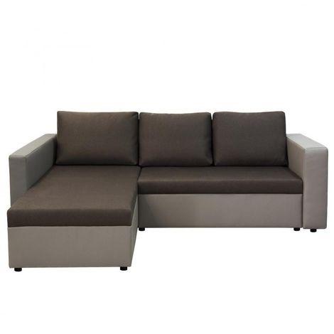 Canapé d'angle convertible LENA taupe et marron couchage 120 cm