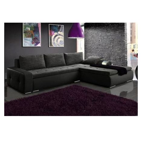 Canapé d'angle convertible Lutecia noir et anthracite 290 x 180 cm - Angle: Droit - Groupe tissu: Groupe A - Noir