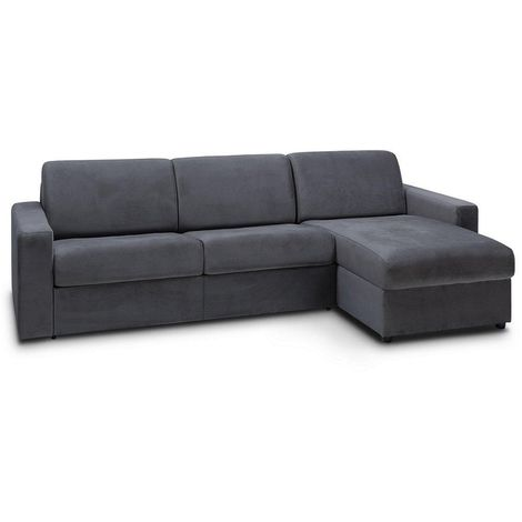 Canapé d'angle convertible NIGHT EDITION VELOURS express couchage 140 cm gris anthracite - gris