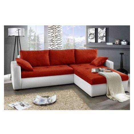 Canapé d'angle convertible réversible FOCUS 240x140cm - Couleur: Orange & blanc