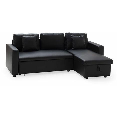 Canapé d'angle convertible simili CLARK 3 places noir - Noir