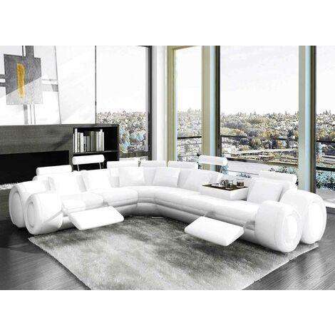 Canapé d'angle cuir design blanc + positions relax OSLO - Angle Gauche