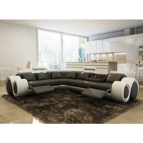 Canapé d'angle cuir gris et blanc + positions relax OSLO - Angle Gauche