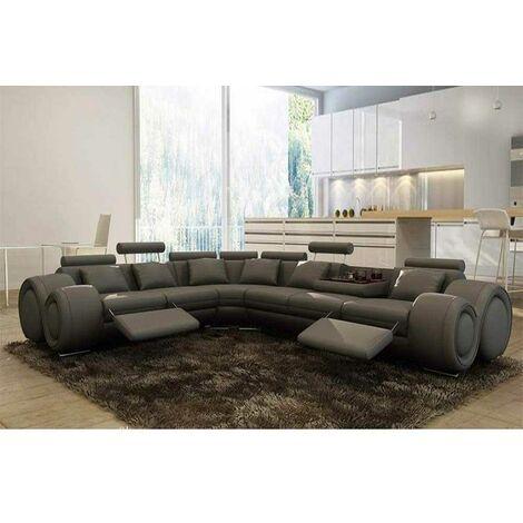 Canapé d'angle cuir gris + positions relax OSLO - Angle Gauche