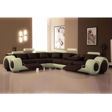 Canapé d'angle cuir marron et beige + appuies têtes relax OSLO - Angle Gauche