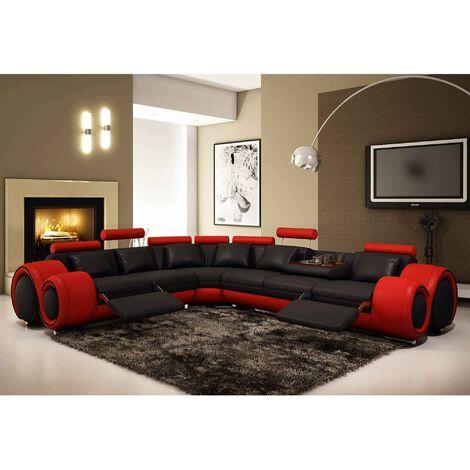Canapé d'angle cuir noir et rouge + positions relax OSLO - Angle Gauche