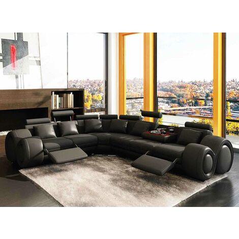 Canapé d'angle cuir noir positions relax OSLO - Angle Gauche