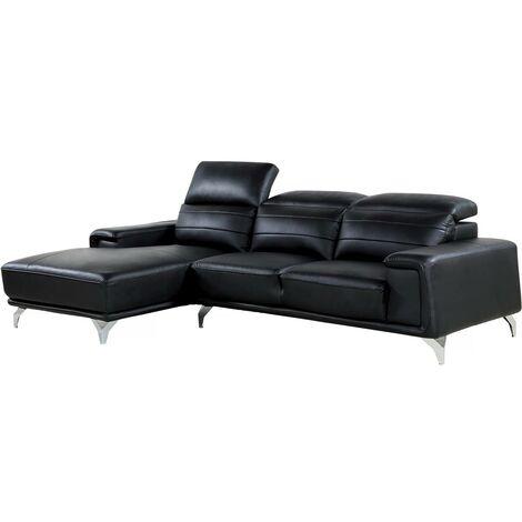 """Canapé d'angle cuir reconstitué et PVC """"Leicester"""" - 4 places - Noir - Angle gauche"""