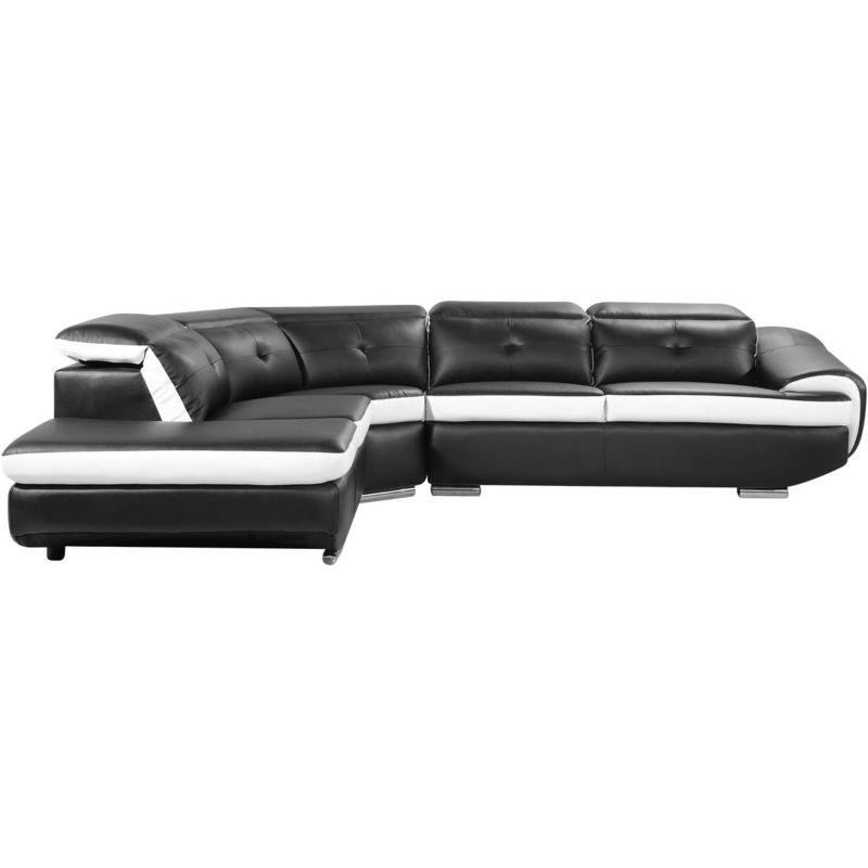 Canapé d'angle cuir reconstitué et PVC 'Montréal' - 5 places - Noir - Angle gauche