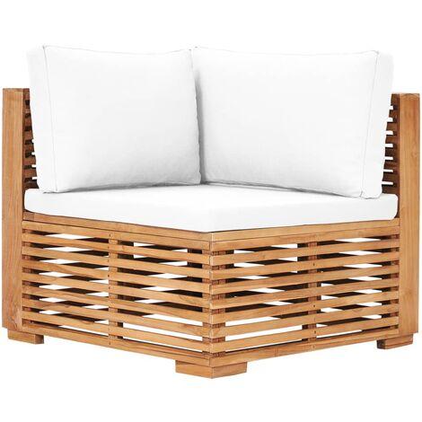 Canapé d'angle de jardin avec coussin crème Bois de teck solide