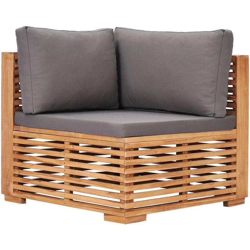 Canapé d'angle de jardin avec coussin gris Bois de teck solide9450-A