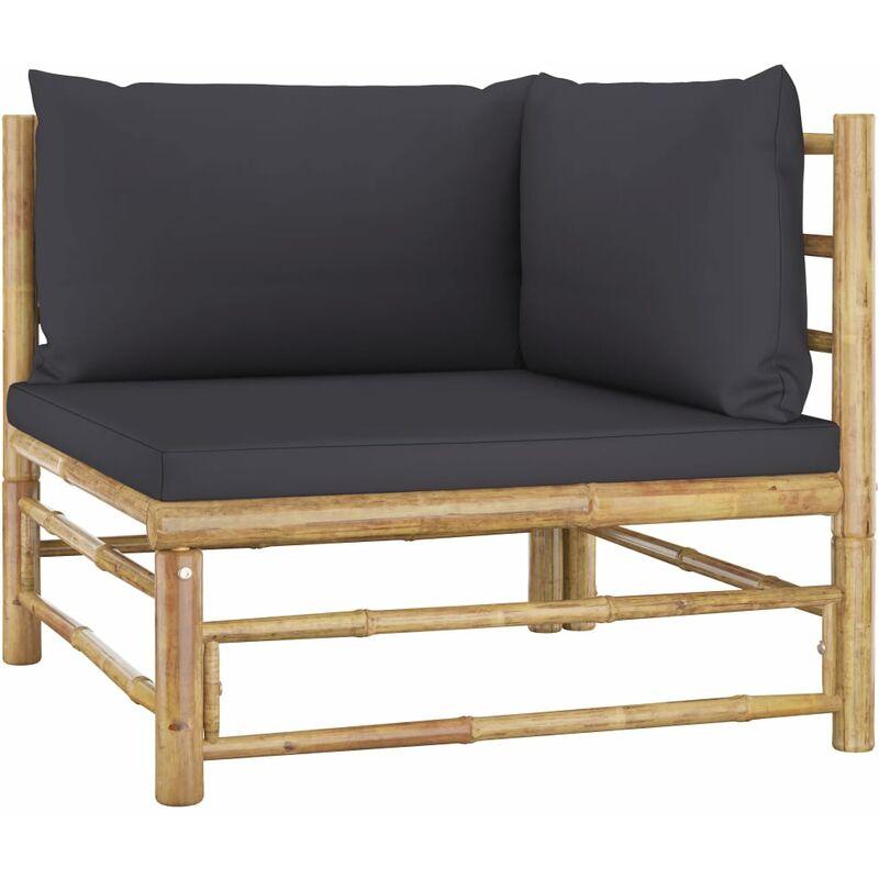 Canapé d'angle de jardin avec coussins gris foncé Bambou6837-A