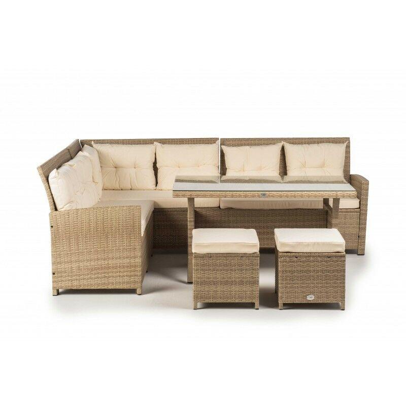 KieferGarden - Ensemble de meubles de jardin et terrasse, 8 sièges, Beige, Rotin synthétique Premium, Aluminium, Canapé 4,5 mètres, Table (120x120x42)