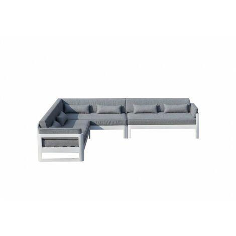 Canapé d'angle de jardin en aluminium blanc et coussins gris - LAGUNA - Blanc