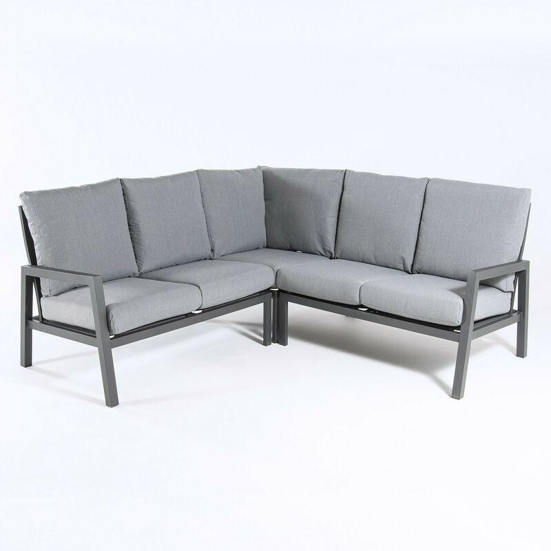 Canapé d'angle de jardin en aluminium renforcé de couleur anthracite, 4 places, coussins de couleur grise