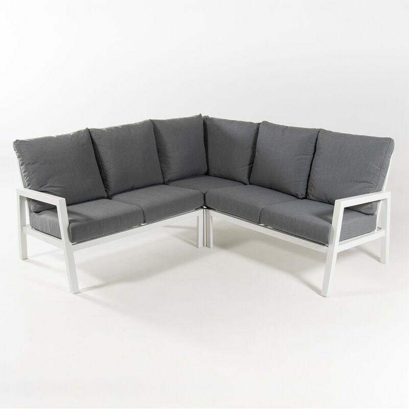 Canapé d'angle de jardin en aluminium renforcé de couleur blanc, 4 places, coussins de couleur grise