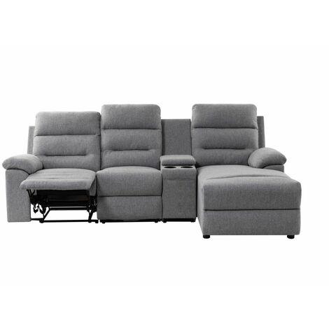 Canapé d'Angle de Relaxation ZOÉ avec chargeur sans fil - Angle Droit - Gris