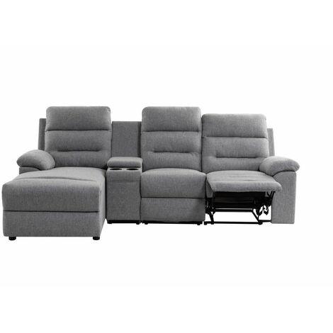Canapé d'Angle de Relaxation ZOÉ avec chargeur sans fil - Angle Gauche - Gris