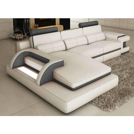 Canapé d'angle design cuir blanc et gris avec lumière IBIZA - Angle Gauche