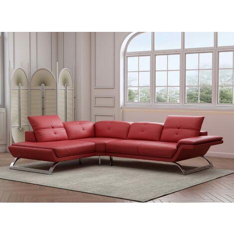 Canapé d'angle design en cuir rouge AURORE - Angle Gauche