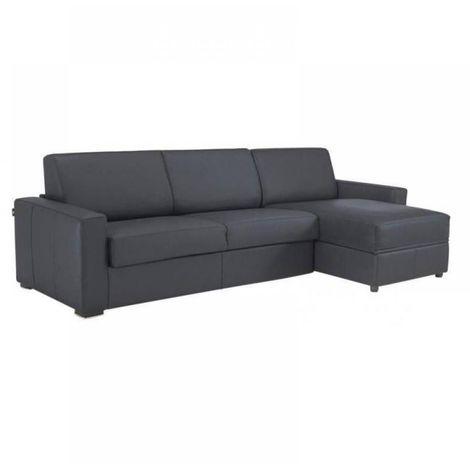 Canapé d'angle DREAMER convertible RAPIDO 160cm CUIR VACHETTE gris matelas 16 cm