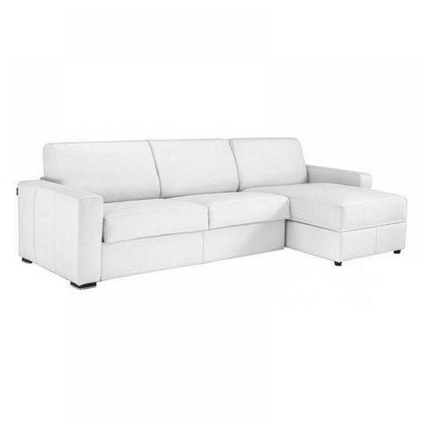 Canapé d'angle DREAMER convertible RAPIDO 160cm polyuréthane blanc matelas 16 cm