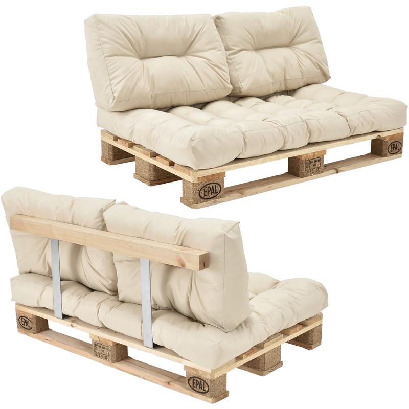 Canapé d'angle en palettes Coussin Beige 2-Places avec Palettes Rembourrage Appui - Modèle 1