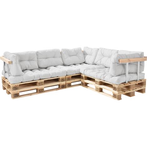 Canapé d'angle en palettes Coussin Beige Canapé d'angle avec Palettes Rembourrage Appui