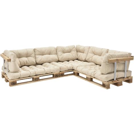 Canapé d'angle en palettes Coussin Beige Canapé d'angle avec Palettes Rembourrage Appui - Modèle 1