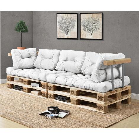 Canapé d'angle en palettes Coussin Blanc 3-Places avec Palettes Rembourrage Appui
