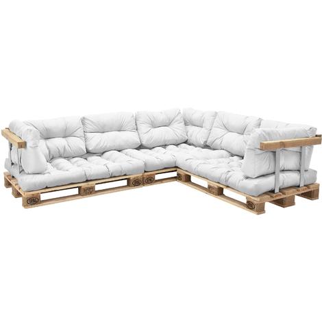 Canapé d'angle en palettes Coussin Blanc Canapé d'angle avec Palettes Rembourrage Appui