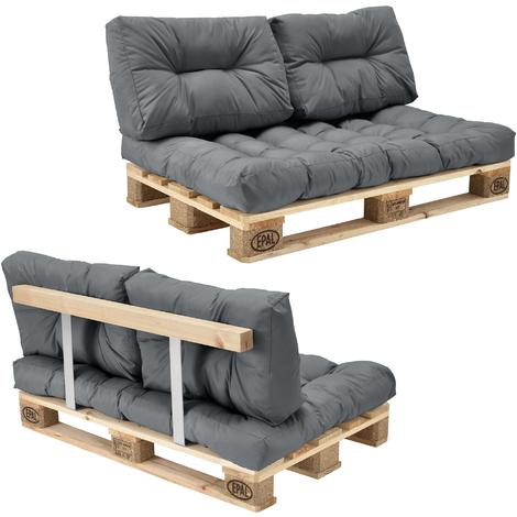 Canapé d'angle en palettes Coussin Gris 2-Places avec Palettes Rembourrage Appui - Modèle 3