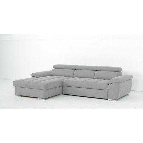 Canapé d'angle gauche convertible avec méridienne coffre DUBLIN tissu gris clair - gris