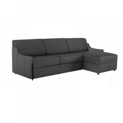 Canapé d'angle LUNA RAPIDO 120*197 *16 cm accoudoirs ultra fins tweed gris graphite