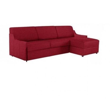 Canapé d'angle LUNA RAPIDO 120*197 *16 cm sommier lattes renatonisi tweed rouge