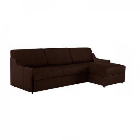 Canapé d'angle LUNA RAPIDO 120*197*16 cm sommier lattes renatonisi tweed chocolat