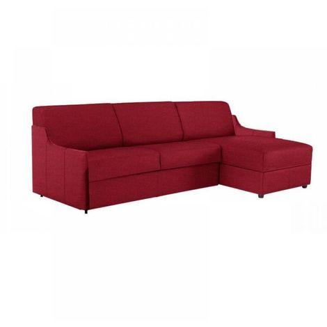 Canapé d'angle LUNA RAPIDO 160*197 *16 cm accoudoirs ultra fins tweed rouge