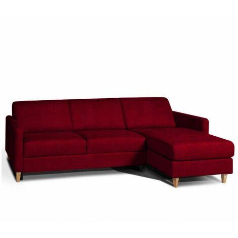 Canapé d'angle NORDIC convertible EXPRESS couchage quotidien 16cm tissu velours rouge - rouge