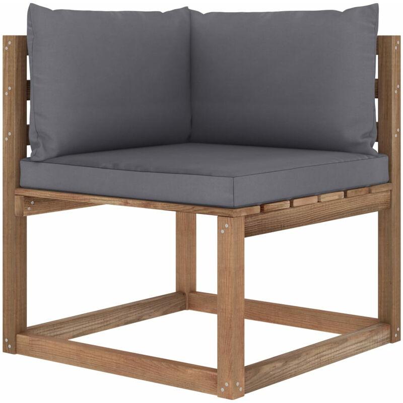 Canape d'angle palette de jardin avec coussins anthracite