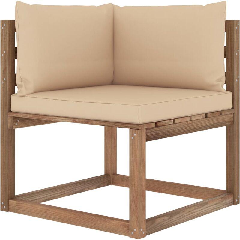 Canapé d'angle palette de jardin avec coussins beige
