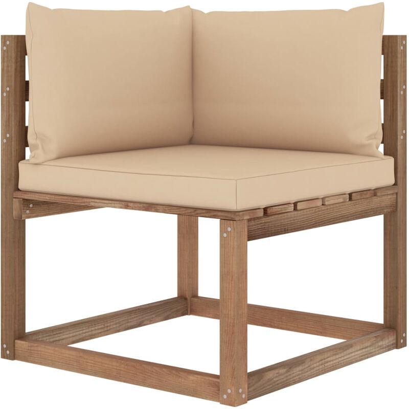 Canape d'angle palette de jardin avec coussins beige