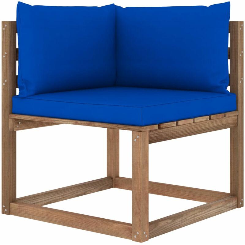 Canape d'angle palette de jardin avec coussins bleu