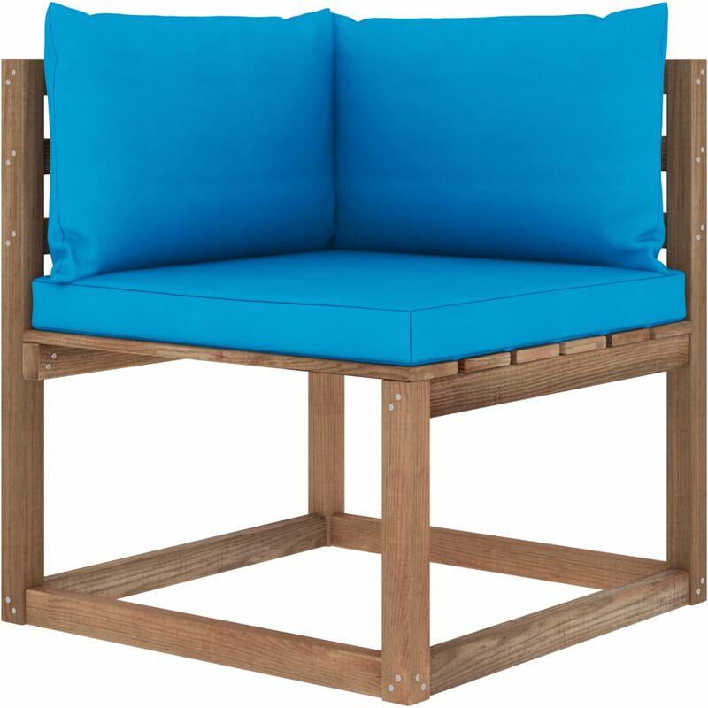 Vidaxl - Canapé d'angle palette de jardin avec coussins bleu clair