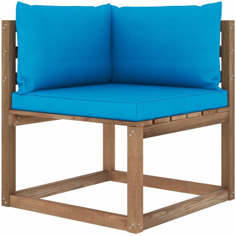 Canape d'angle palette de jardin avec coussins bleu clair