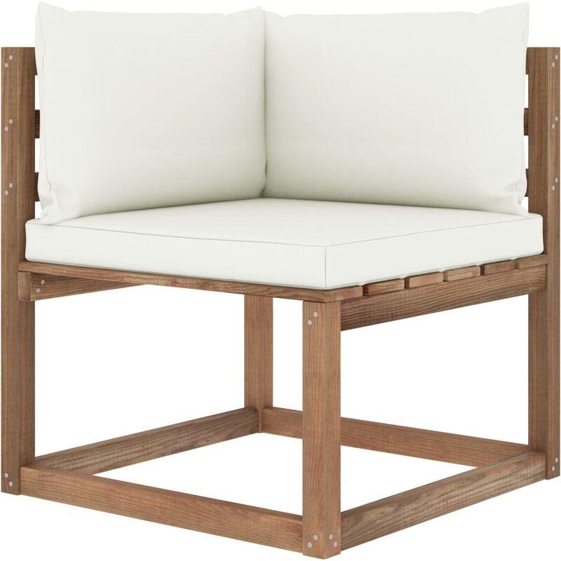 Canapé d'angle palette de jardin avec coussins crème5334-A