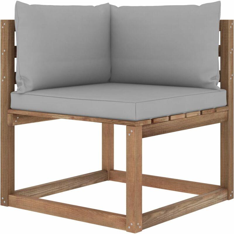 Canapé d'angle palette de jardin avec coussins gris